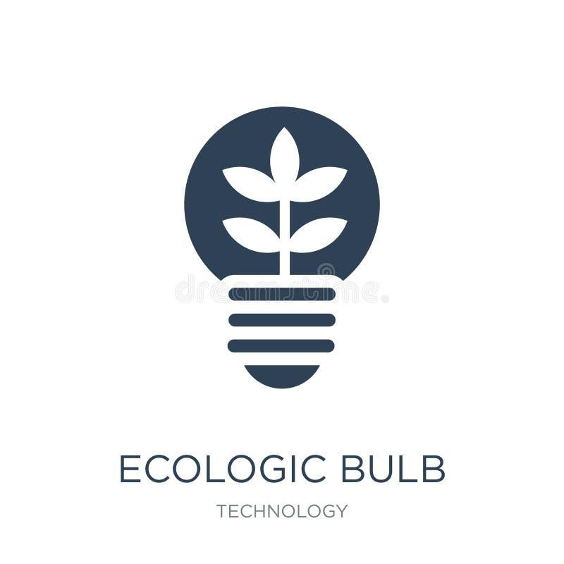 ícone ecológico do bulbo no estilo na moda do projeto ícone ecológico do bulbo isolado no fundo branco ícone ecológico do vetor d ilustração do vetor