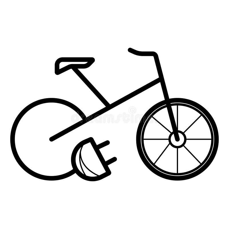 ?cone el?trico do preto da e-bicicleta da bicicleta da bicicleta ilustração royalty free