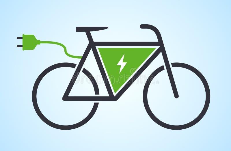 Ícone elétrico do vetor da e-bicicleta da bicicleta ilustração do vetor