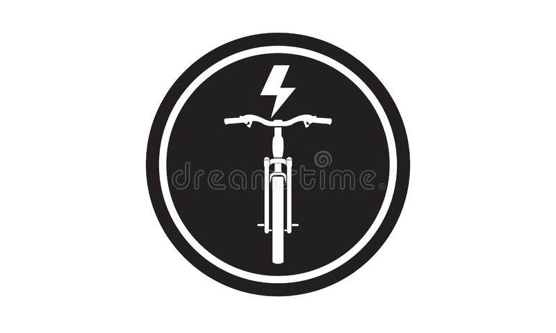 Ícone elétrico preto da bicicleta ilustração do vetor