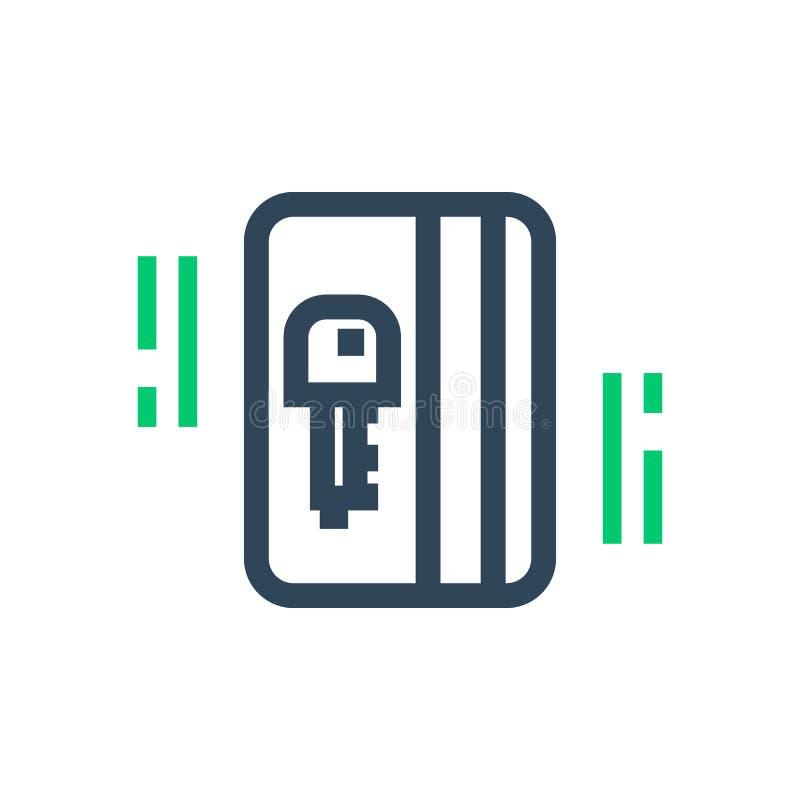 Ícone eletrônico da passagem, chave de cartão ilustração stock
