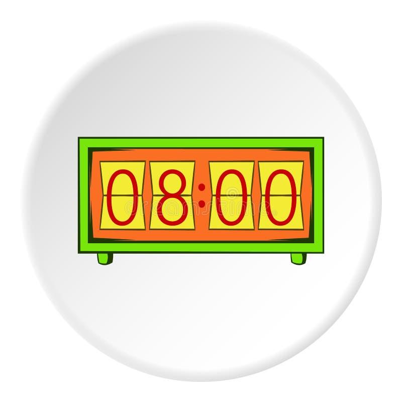 Ícone eletrônico do relógio, estilo dos desenhos animados ilustração stock