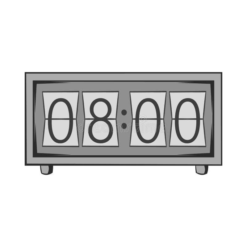 Ícone eletrônico do relógio, estilo monocromático preto ilustração stock
