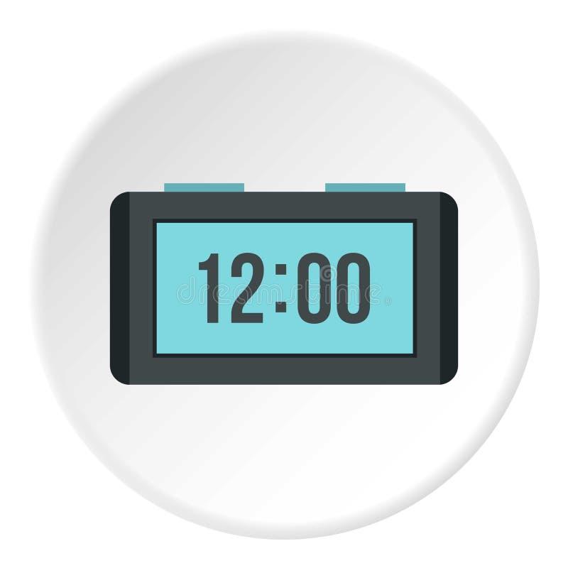 Ícone eletrônico do relógio da tabela, estilo liso ilustração stock