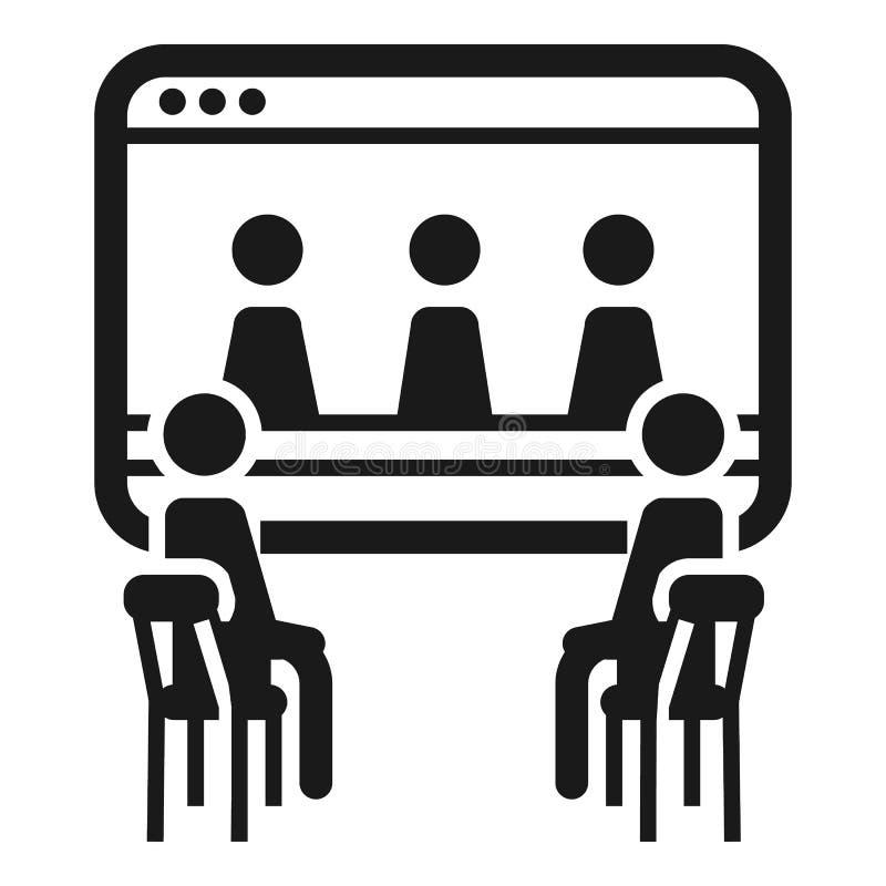 Ícone em linha da coesão dos povos, estilo simples ilustração stock