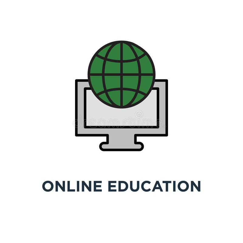 Ícone em linha da educação curso video, bolsa de estudos, certificado do grau da graduação, redigindo o projeto do símbolo do con ilustração do vetor