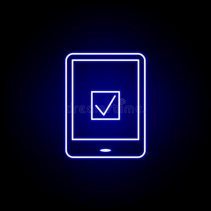 Ícone em linha da eleição das eleições no estilo de néon Os sinais e os s?mbolos podem ser usados para a Web, logotipo, app m?vel ilustração stock