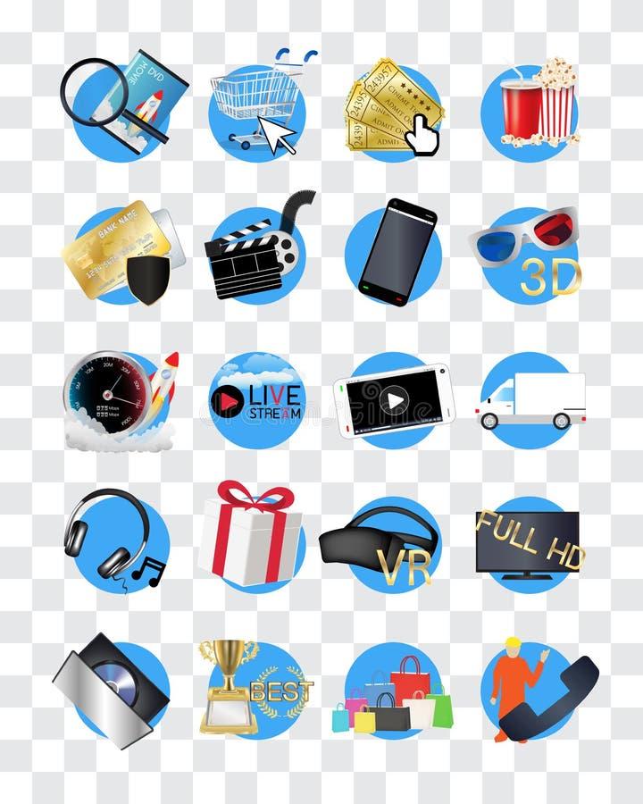 Ícone em linha da loja dos filmes ilustração stock