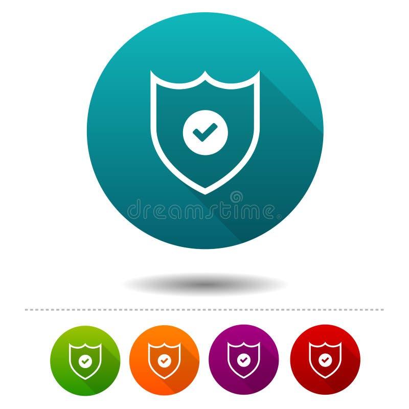 Ícone em linha da segurança Fixe o sinal do símbolo do crachá Botão da Web ilustração stock