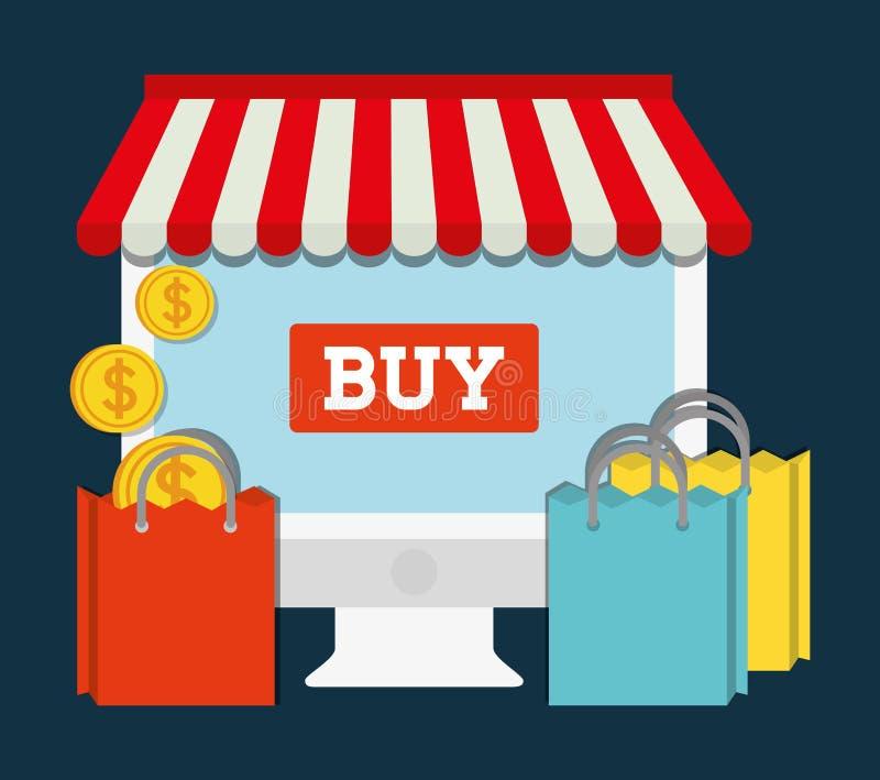 Ícone em linha de compra do mercado da loja do computador Gráfico de vetor ilustração do vetor