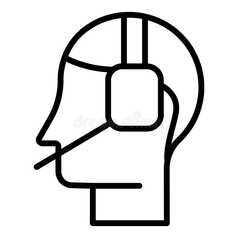 Ícone em linha do centro de atendimento, estilo do esboço ilustração stock