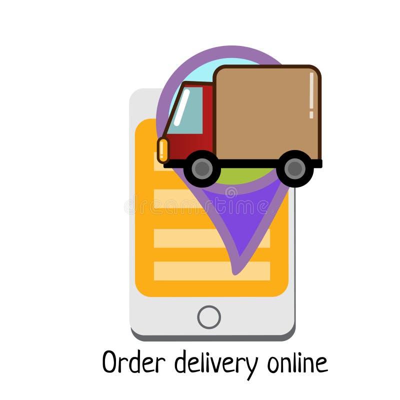 Ícone em linha do serviço de aluguel do caminhão do carro comercial, projeto liso da entrega da ordem do telefone celular para o  ilustração stock