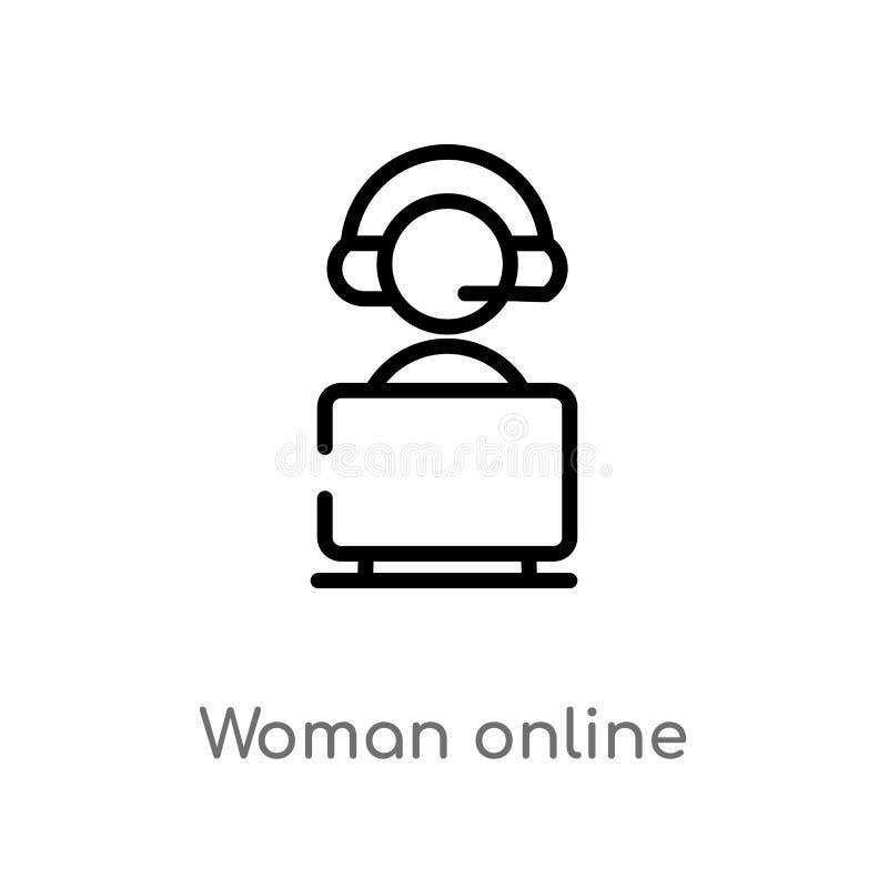 ?cone em linha do vetor da mulher do esbo?o linha simples preta isolada ilustra??o do elemento do conceito do cyber r ilustração do vetor