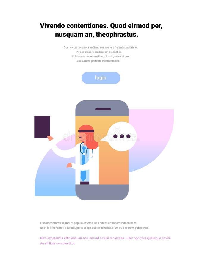 Ícone em linha médico do perfil do conceito dos cuidados médicos da consulta do bate-papo móvel árabe da bolha da aplicação da pr ilustração stock