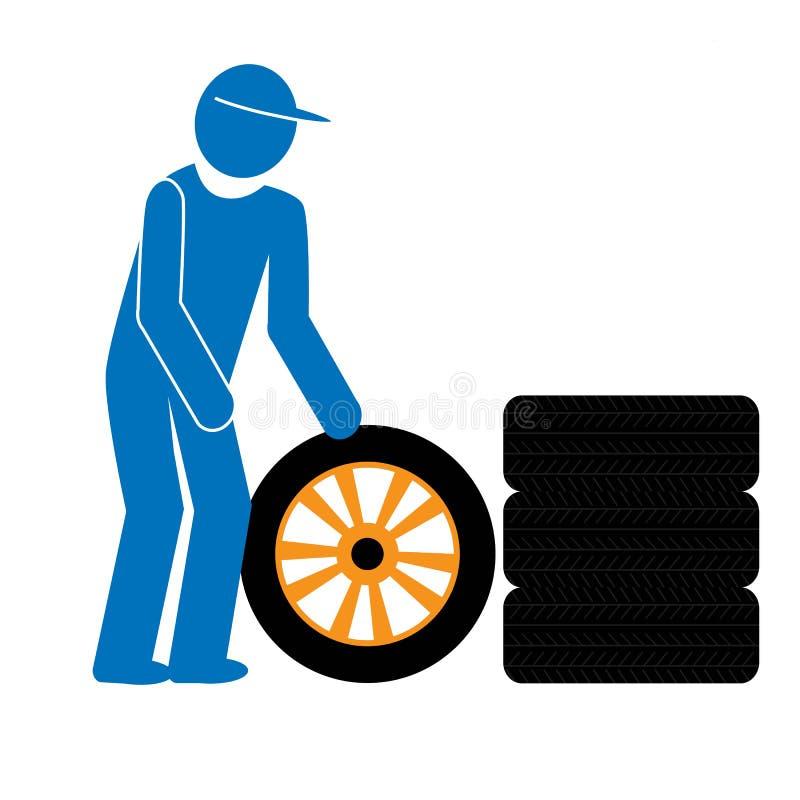 Ícone em mudança dos pneus do mecânico de carro foto de stock