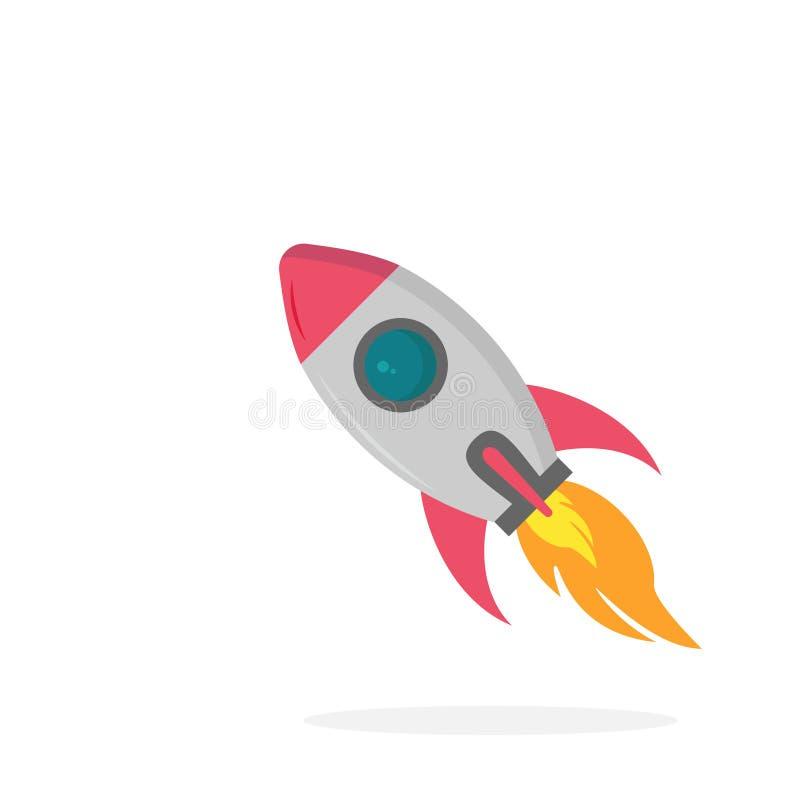 Ícone em um fundo branco, ilustração de Rocket do vetor ilustração royalty free