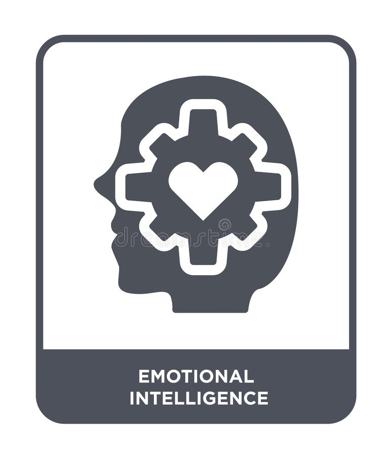ícone emocional da inteligência no estilo na moda do projeto ícone emocional da inteligência isolado no fundo branco emocional ilustração stock