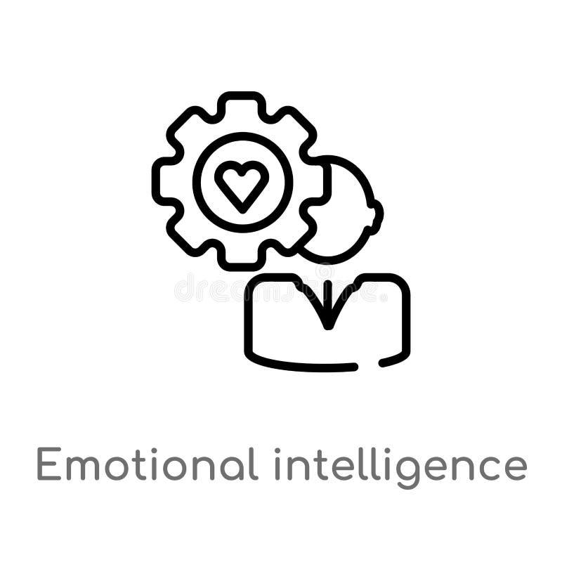 ícone emocional do vetor da inteligência do esboço linha simples preta isolada ilustração do elemento do conceito dos recursos hu ilustração do vetor