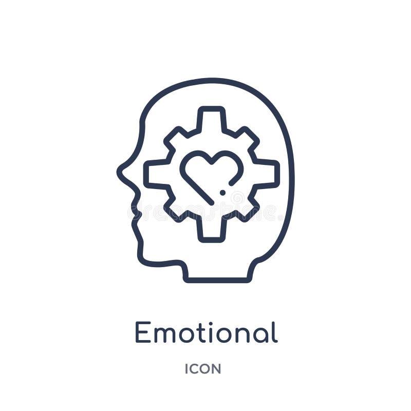 Ícone emocional linear da inteligência da coleção do esboço dos recursos humanos Linha fina ícone emocional da inteligência isola ilustração do vetor
