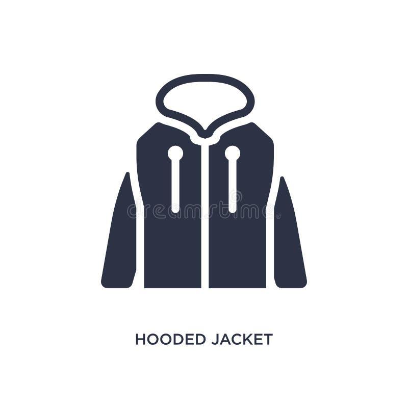 ícone encapuçado do revestimento no fundo branco Ilustração simples do elemento do conceito da roupa ilustração stock