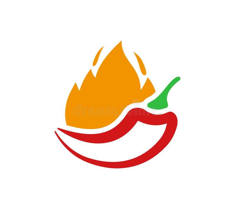 Ícone encarnado do pimentão do vetor Pimentas no símbolo de fogo e ilustração do sinal no fundo branco ilustração stock