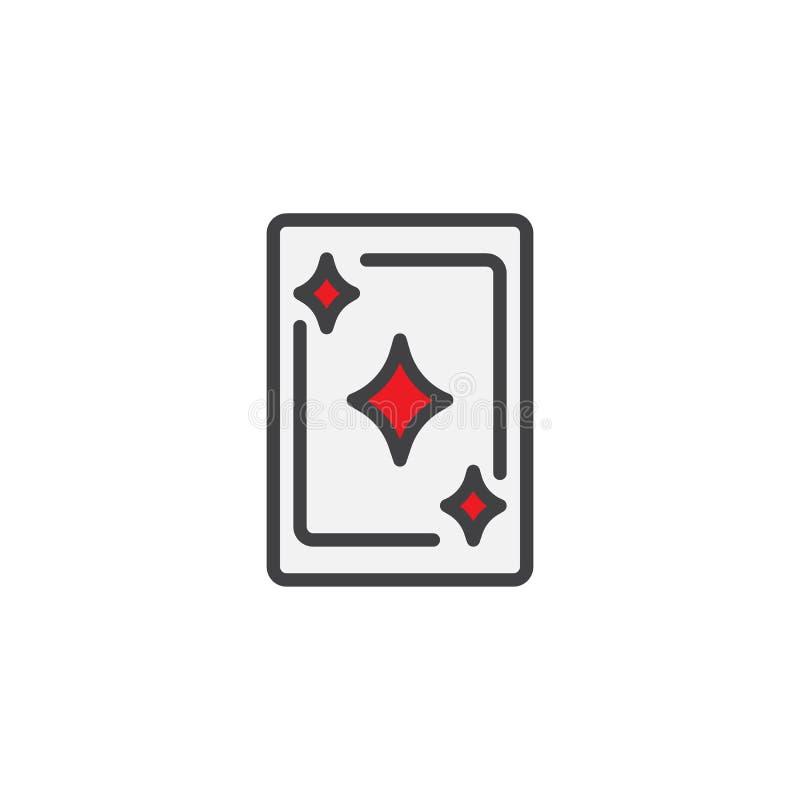 Ícone enchido ás do esboço do cartão dos diamantes ilustração stock