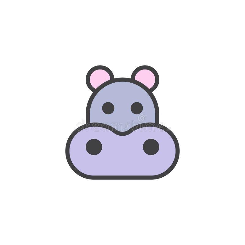 Ícone enchido cabeça do esboço do hipopótamo ilustração stock