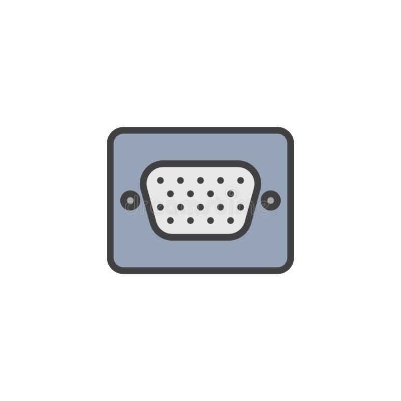 Ícone enchido do esboço da disposição dos gráficos porto video ilustração do vetor