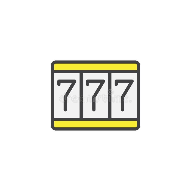 Ícone enchido do esboço da fortuna 777 ilustração do vetor