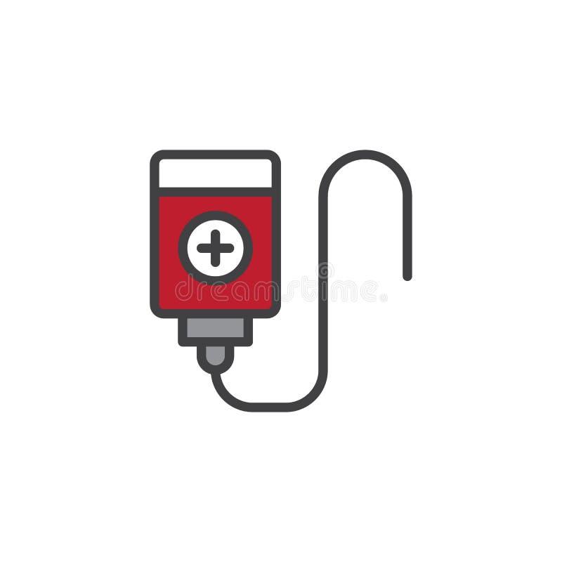 Ícone enchido do esboço da transfusão de sangue ilustração stock