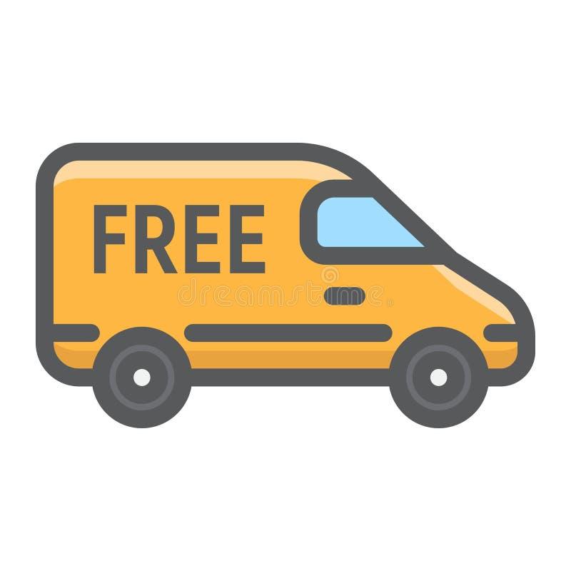 Ícone enchido do esboço de Van de entrega, entrega ilustração royalty free