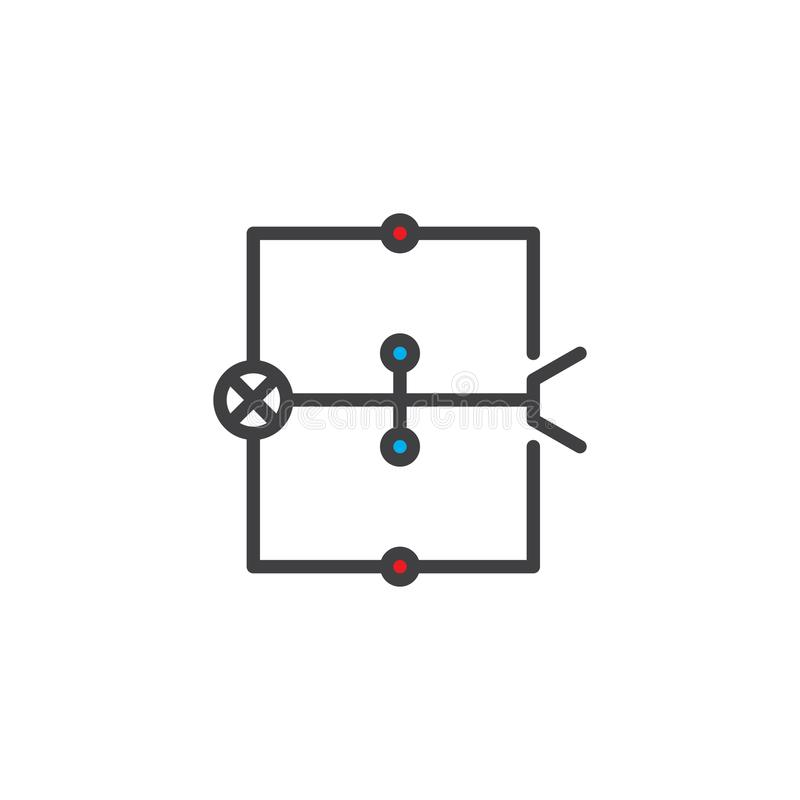 Ícone enchido do esboço do diagrama de fiação ilustração royalty free