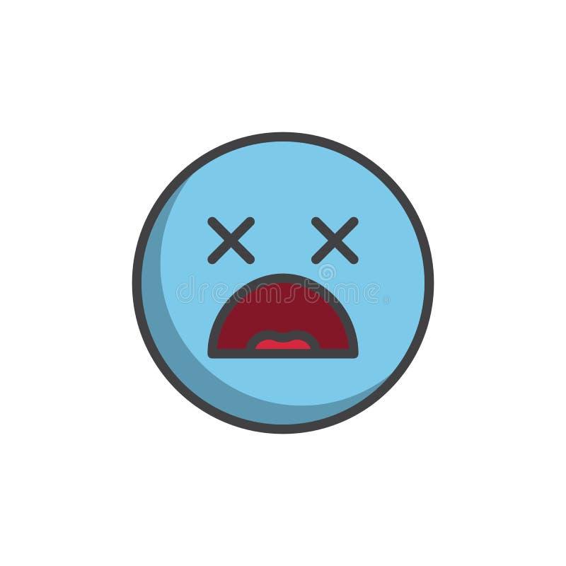 Ícone enchido emoticon chocado do esboço da cara ilustração royalty free