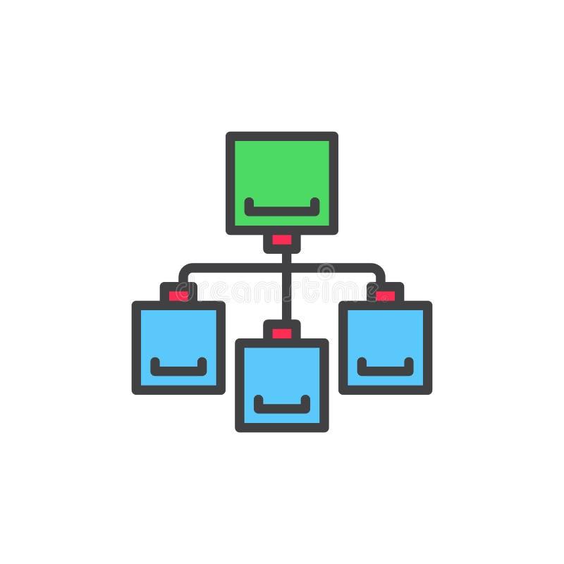 Ícone enchido fluxograma do esboço, sinal do vetor ilustração do vetor