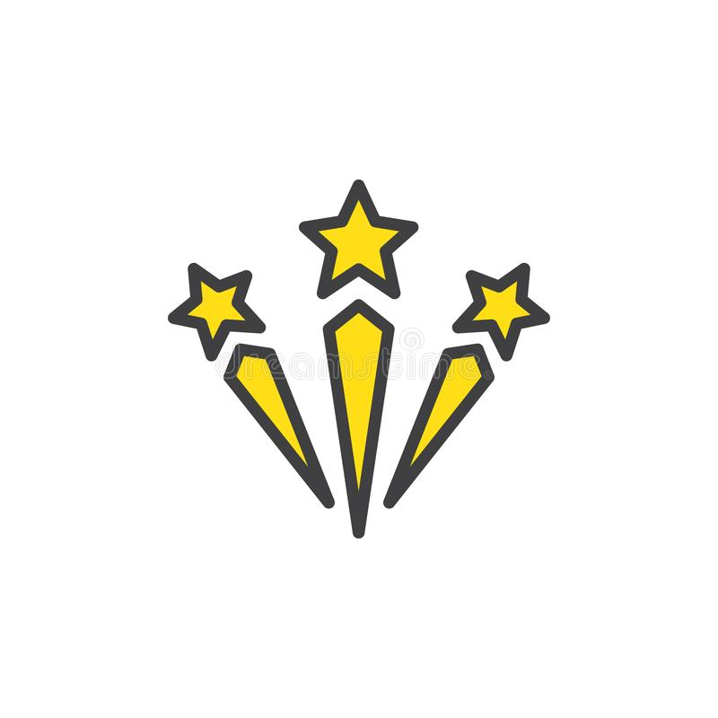 Ícone enchido fogos-de-artifício do esboço da celebração ilustração stock