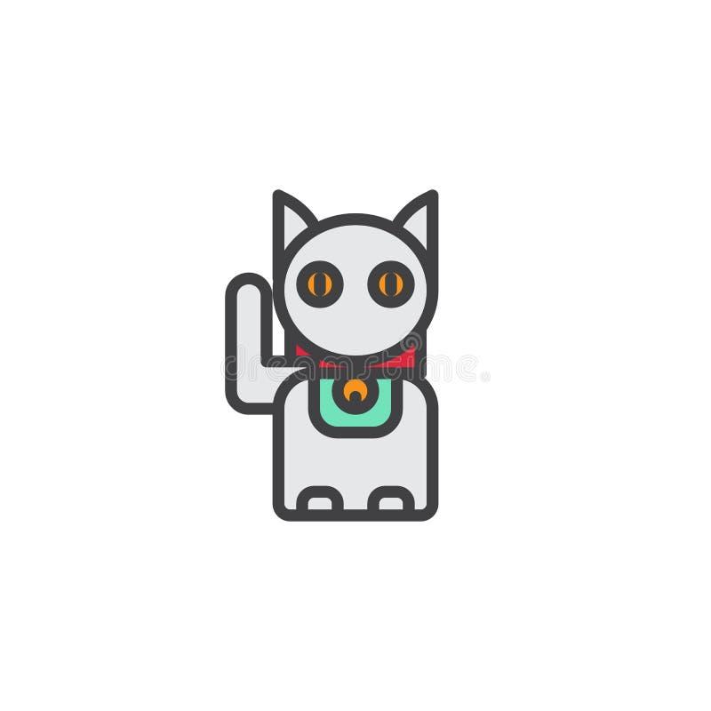 Ícone enchido gato do esboço de Maneki Neko ilustração royalty free
