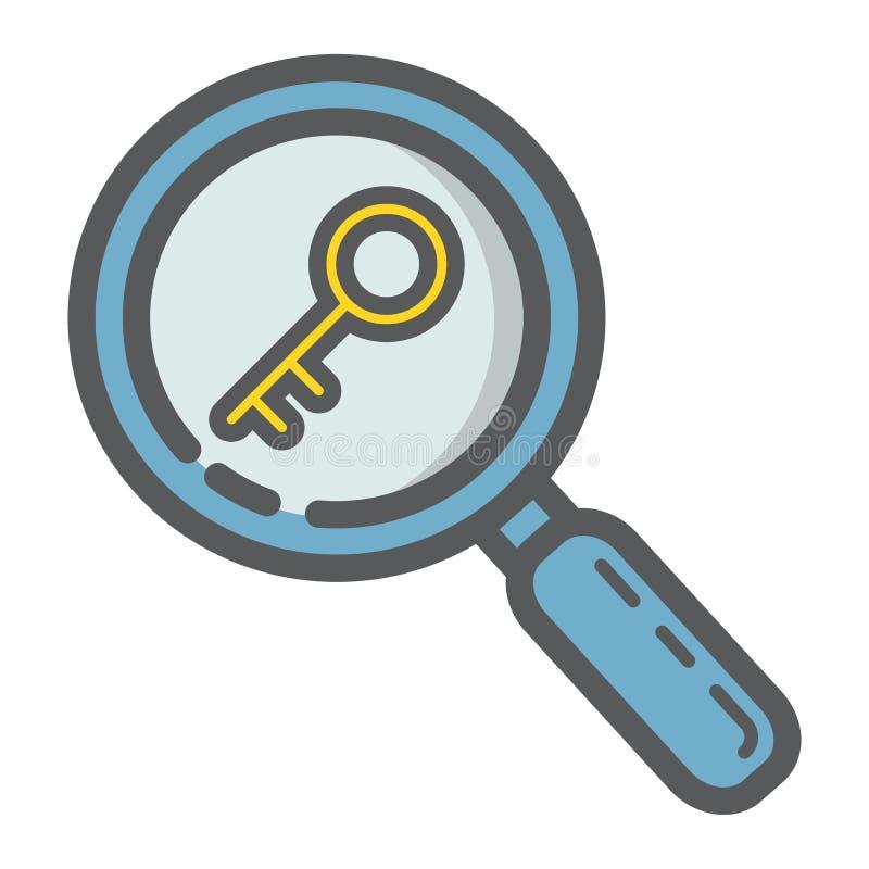 Ícone enchido pesquisa do esboço da palavra-chave, seo ilustração stock