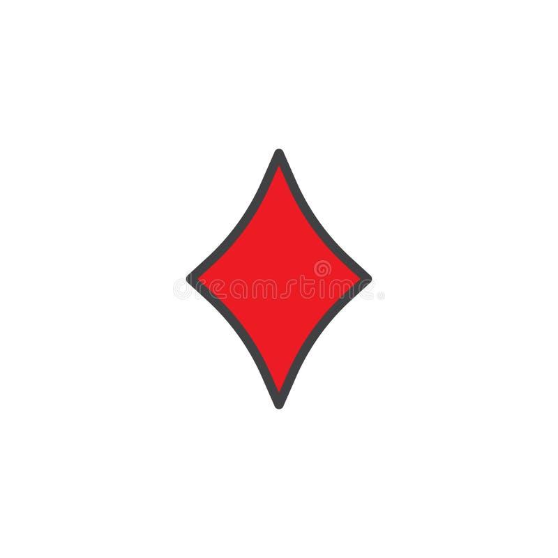 Ícone enchido terno do esboço do diamante do casino ilustração royalty free