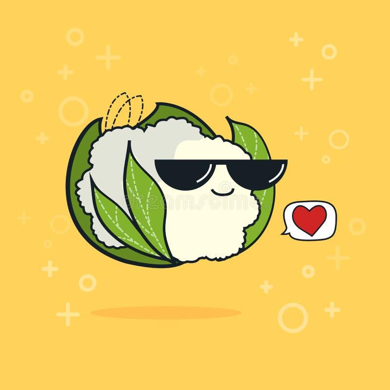 Ícone engraçado com os óculos de sol pretos isolados, conceito da couve-flor dos desenhos animados da ilustração do vegetariano ilustração do vetor