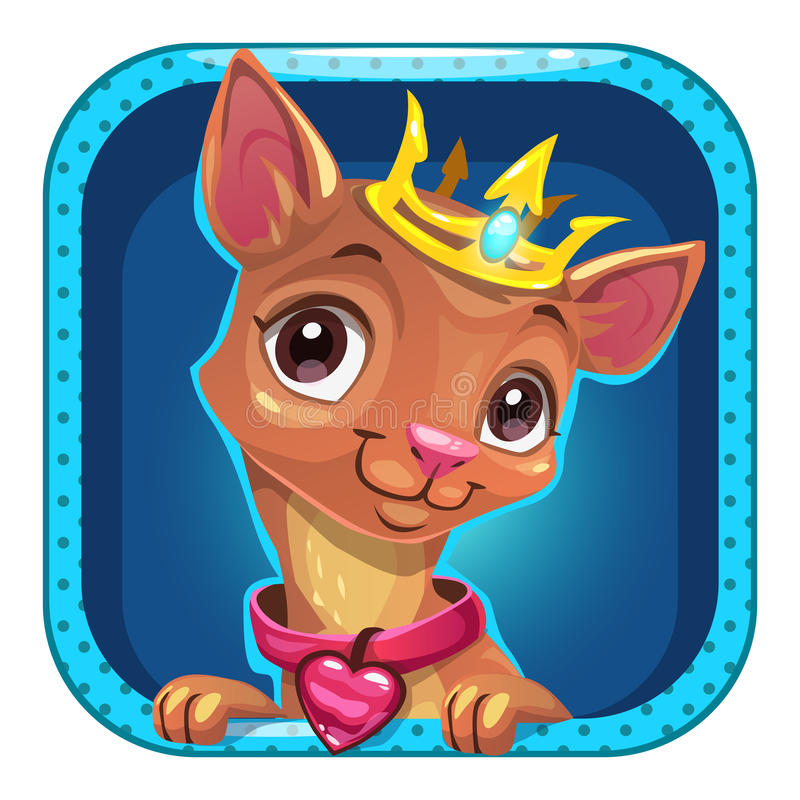 Ícone engraçado do app do quadrado dos desenhos animados com cão pequeno ilustração royalty free