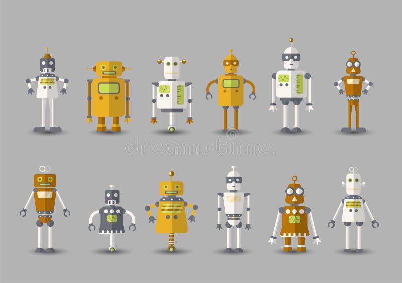 Ícone engraçado do grupo do robô do vetor do vintage retro no estilo liso isolado no fundo cinzento Ilustração do vintage do plan ilustração stock