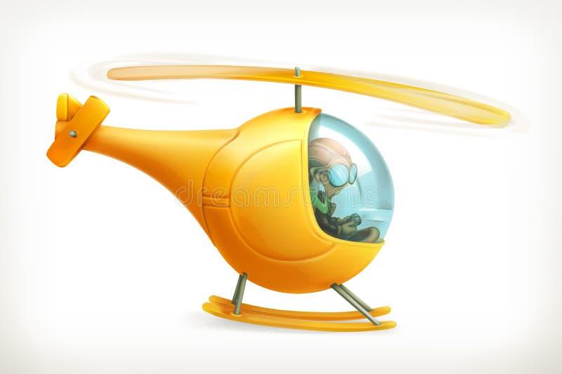 Ícone engraçado do helicóptero ilustração do vetor