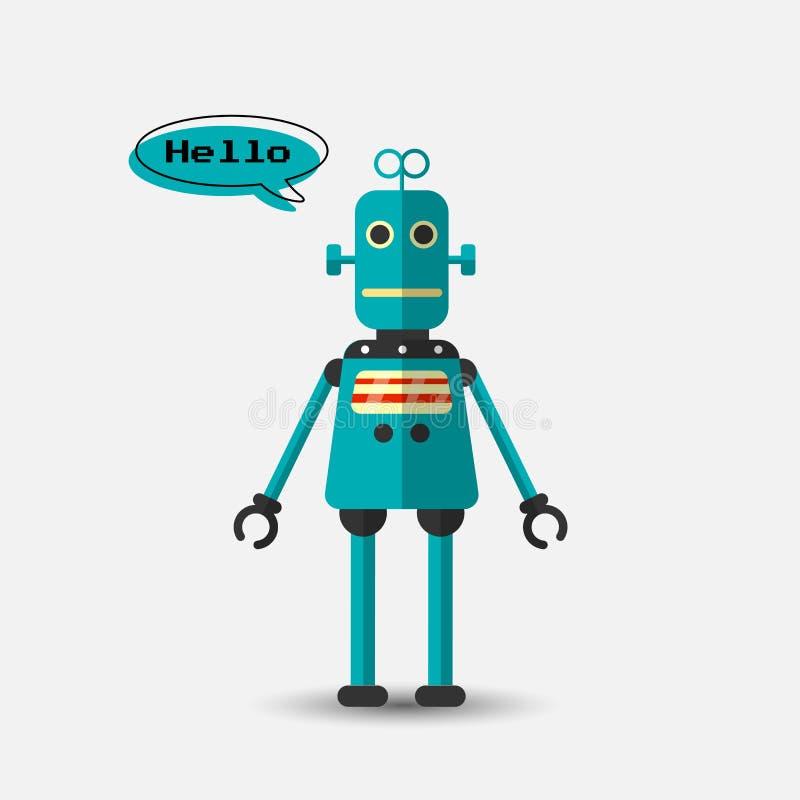 Ícone engraçado do robô do vetor do vintage retro no estilo liso isolado no fundo cinzento Ilustração do vintage do vetor do plan ilustração royalty free