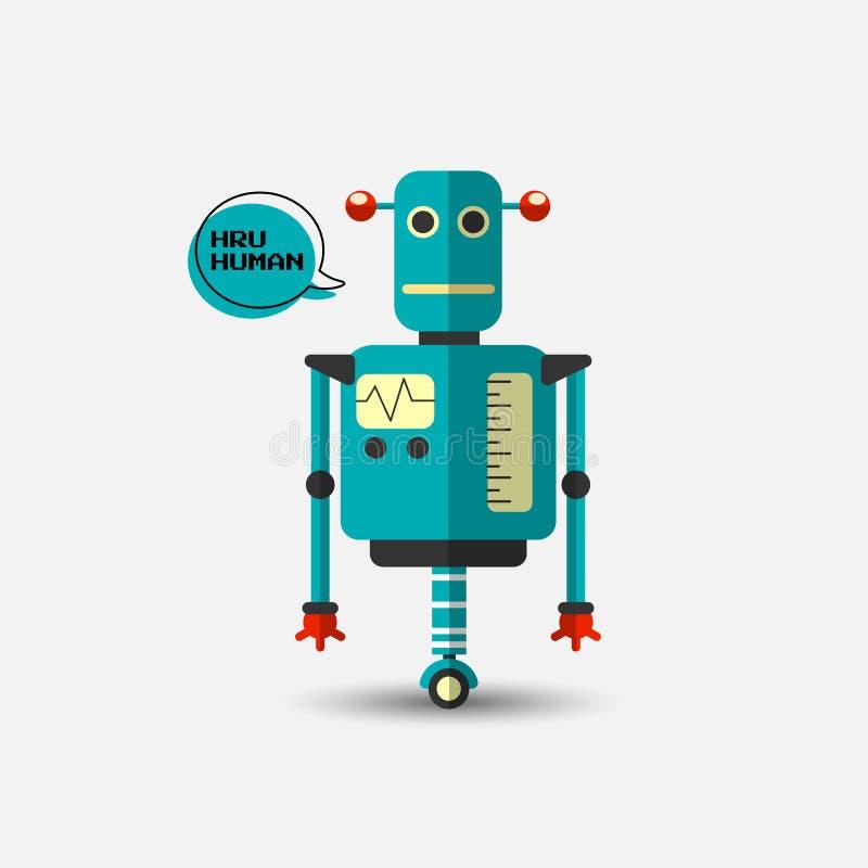 Ícone engraçado do robô do vetor do vintage retro no estilo liso isolado no fundo cinzento Ilustração do vintage do vetor do plan ilustração stock