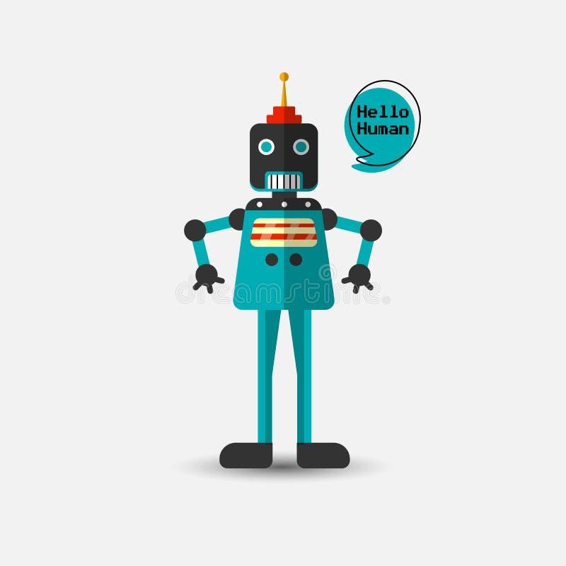 Ícone engraçado do robô do vetor do vintage retro no estilo liso isolado no fundo cinzento Ilustração do vintage do vetor do plan ilustração do vetor