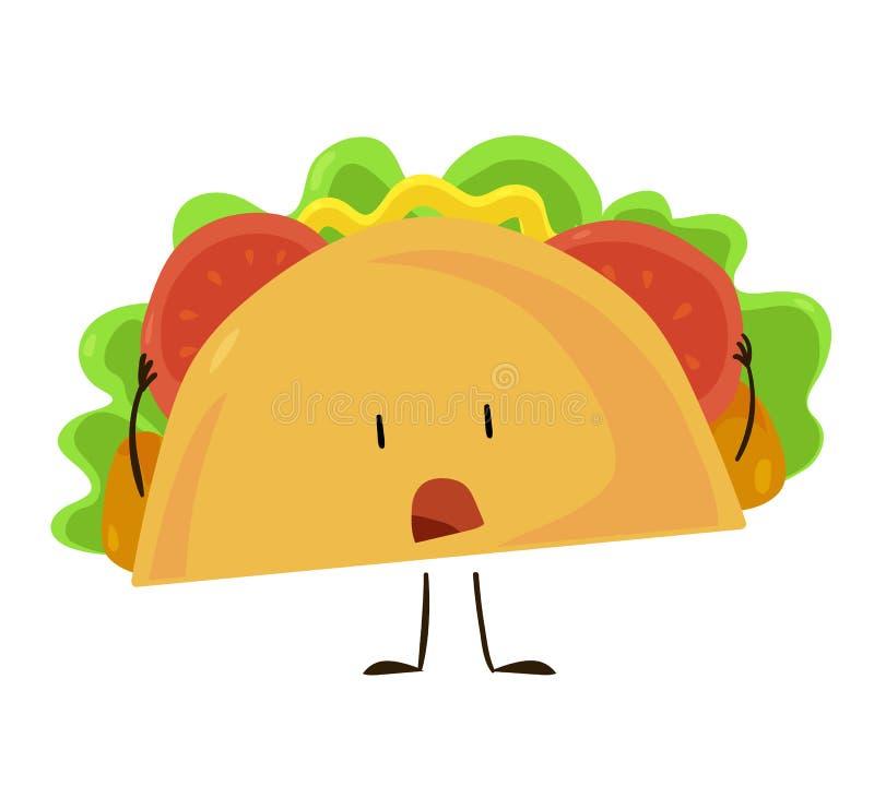 Ícone engraçado do taco do fast food ilustração do vetor