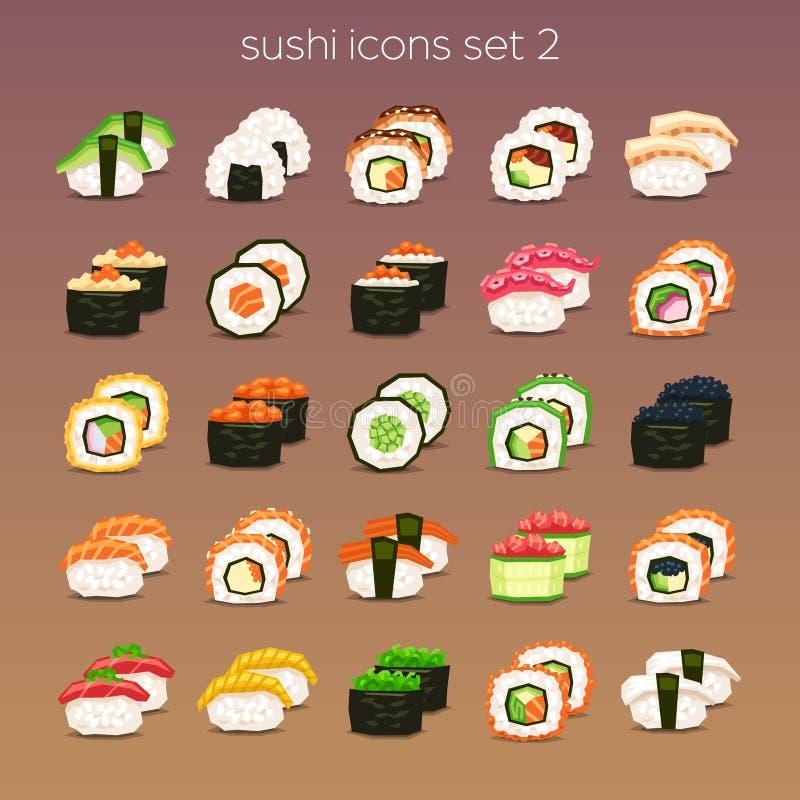 Ícone engraçado set_2 do sushi ilustração do vetor