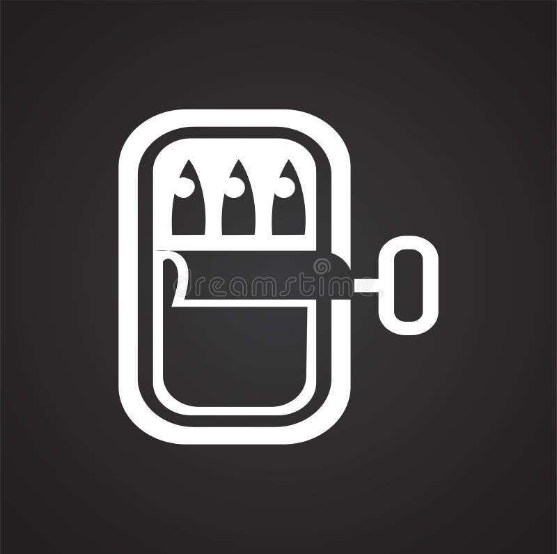Ícone enlatado dos peixes no fundo preto para o gráfico e o design web, sinal simples moderno do vetor Conceito do Internet Símbo ilustração stock