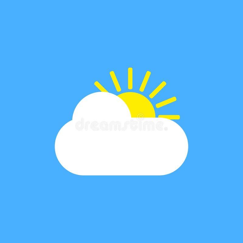 ?cone ensolarado do sinal do tempo no fundo azul Ilustra??o amarela do sol e da nuvem ilustração do vetor