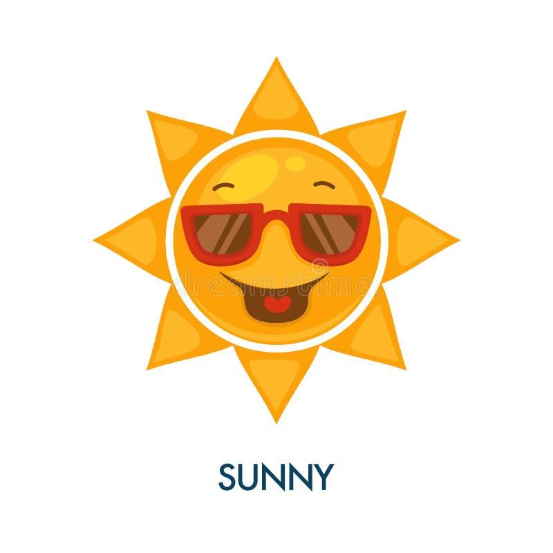 Ícone ensolarado do tempo com o sol fresco nos óculos de sol ilustração stock